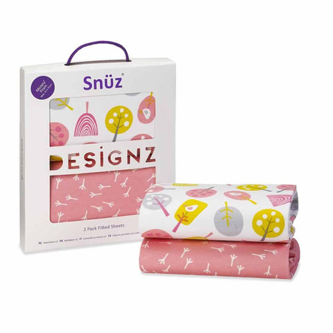 SnuzPod Twin Pack Moses Basket Sheet in Little Tweets