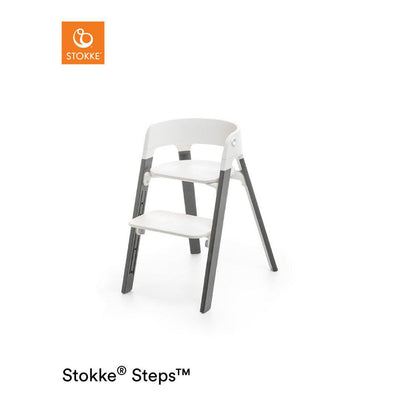 Stokke Steps Chair - White + Hazy Grey-Highchairs- Natural Baby Shower
