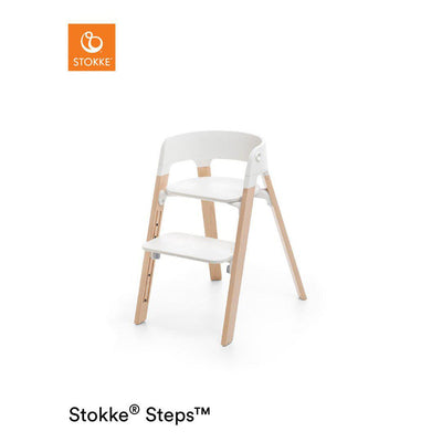 Stokke Steps Chair - White + Natural-Highchairs- Natural Baby Shower