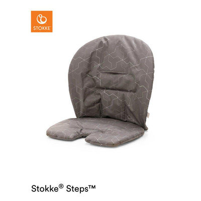 Ex-Display Stokke Steps Chair Baby Set Cushion - Geometric Grey-Highchair Cushions & Pads- Natural Baby Shower