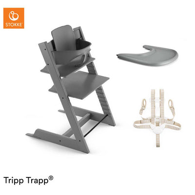Stokke Tripp Trapp Bundle - Storm Grey-Highchairs- Natural Baby Shower
