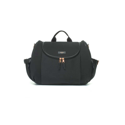 Storksak Changing Bag - Poppy Luxe Scuba - Black-Changing Bags- Natural Baby Shower