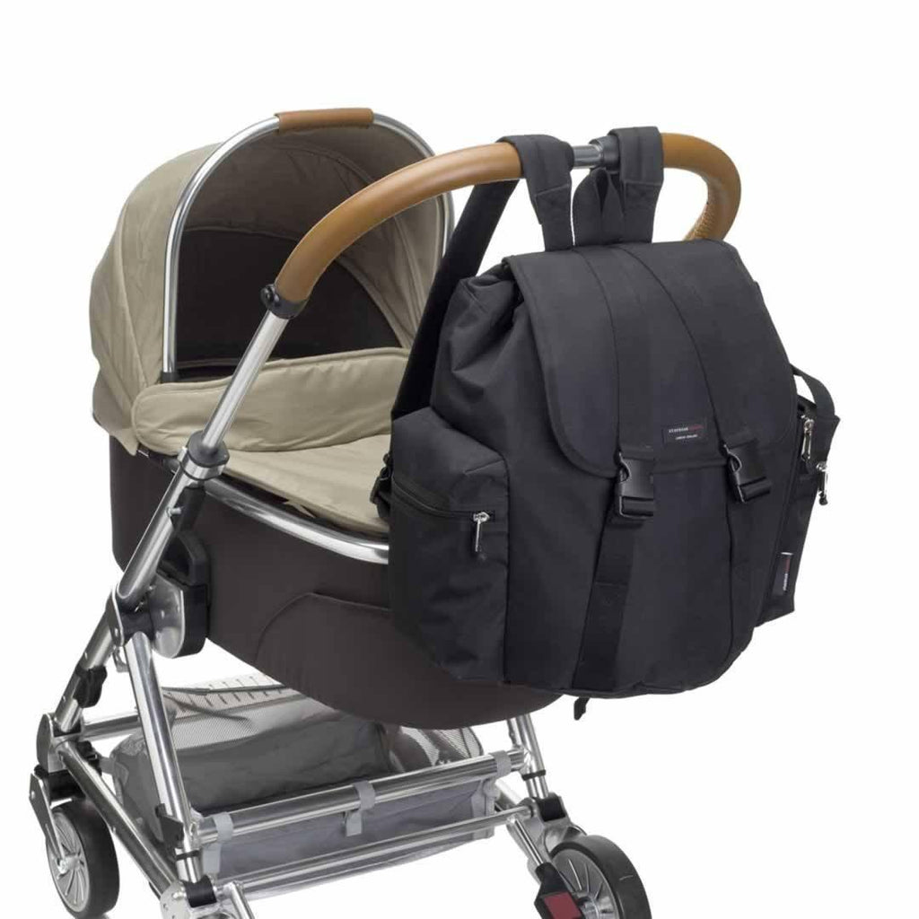 Storksak Changing Bag - Backpack - Black on pushchair