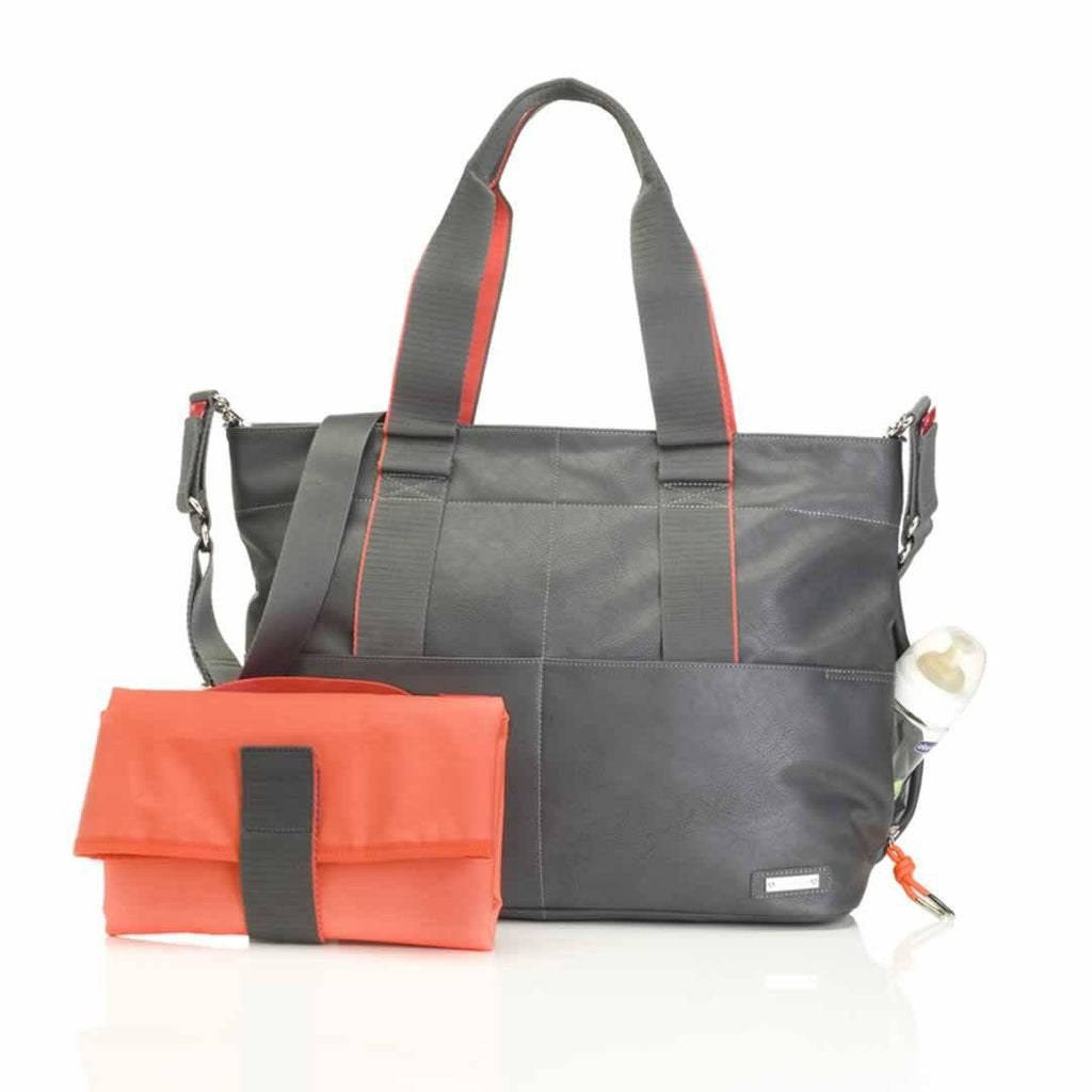 Storksak Changing Bag - Eden - Grey Vegan Leather-Changing Bags- Natural Baby Shower