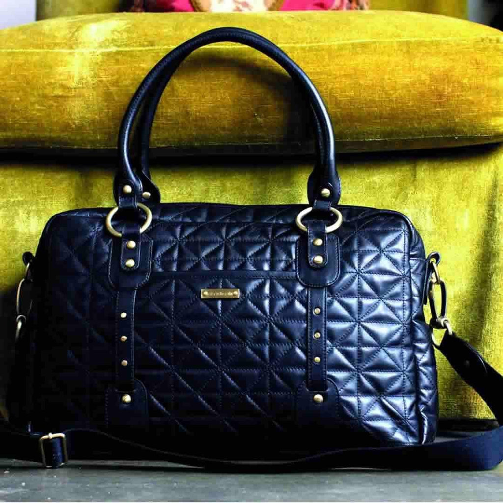 Storksak Changing Bag - Elizabeth Quilted Black Lifestyle