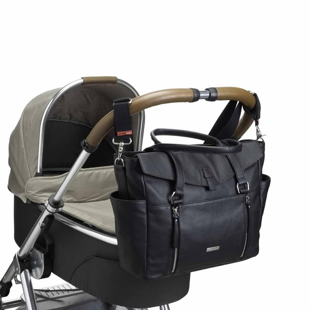Storksak Changing Bag - Emma - Leather Black on pushchair