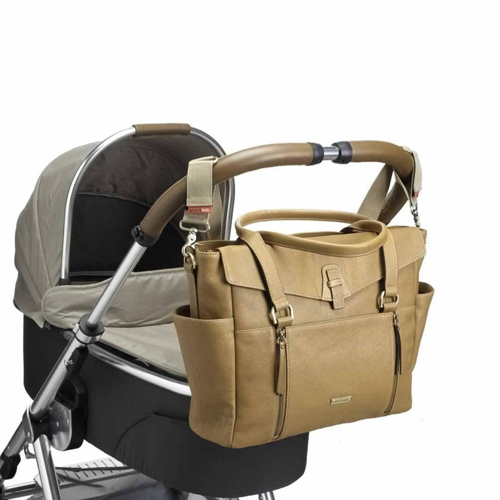Storksak Changing Bag - Emma - Leather Tan on pushchair