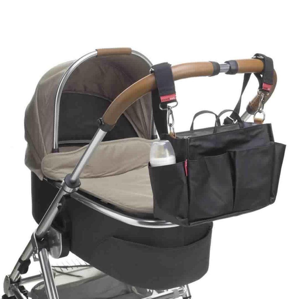 Storksak Mini Organiser - Black on Pushchair
