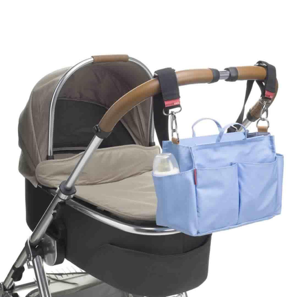 Storksak Mini Organiser - Blue on Pushchair