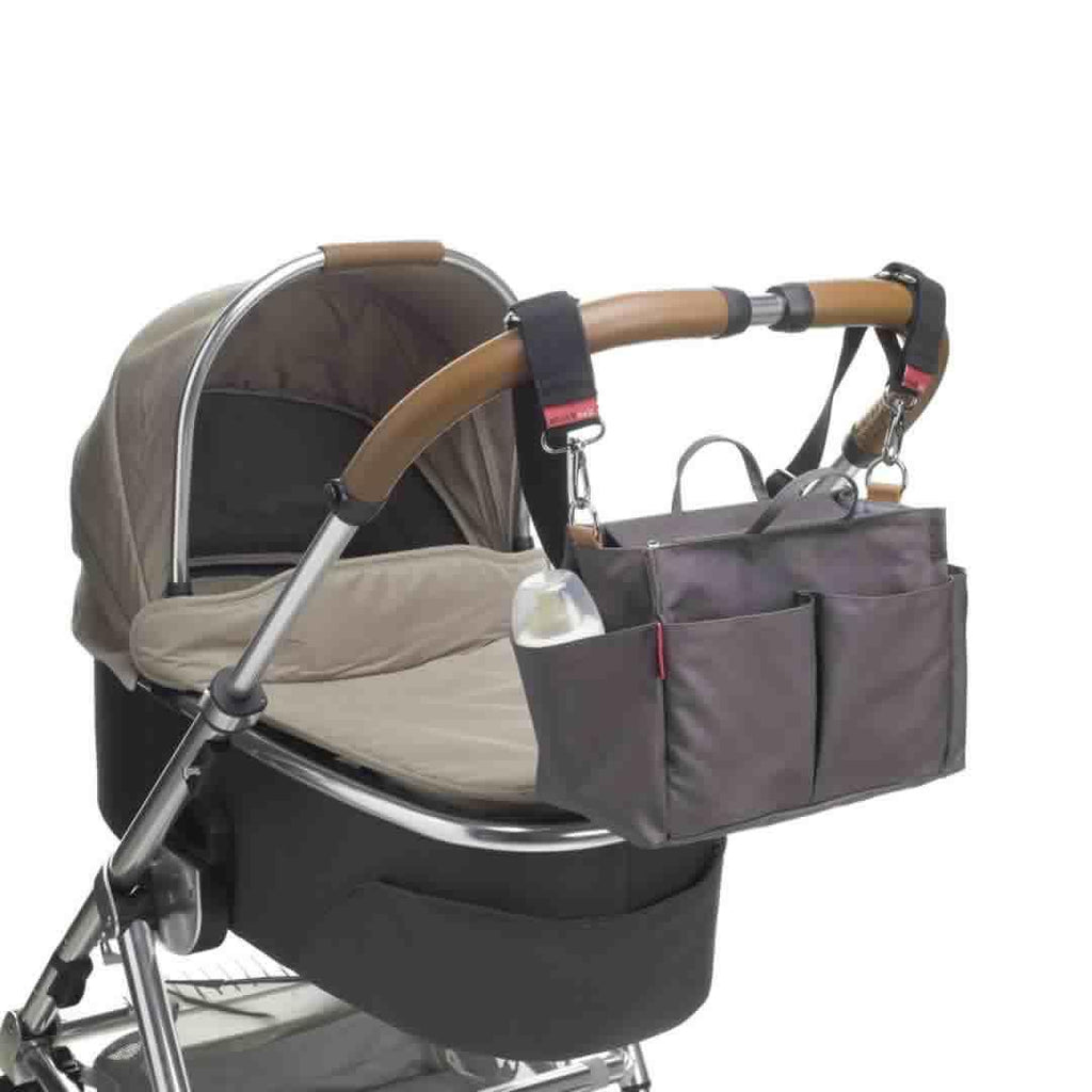 Storksak Mini Organiser - Grey on Pushchair