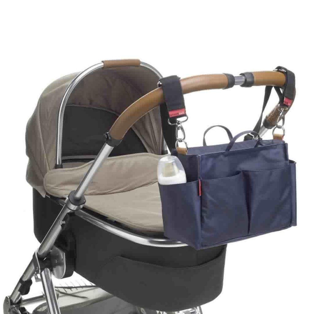 Storksak Mini Organiser - Navy on Pushchair