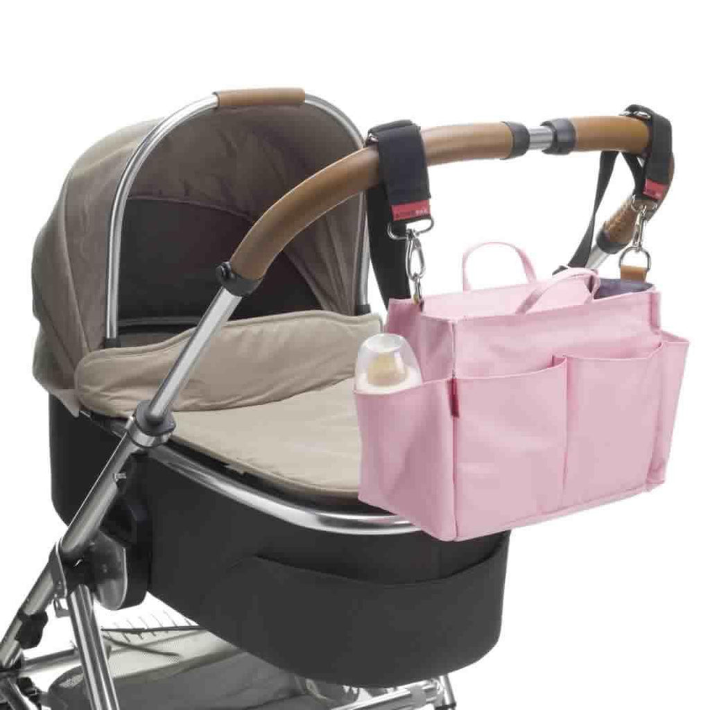 Storksak Mini Organiser - Pink on Pushchair