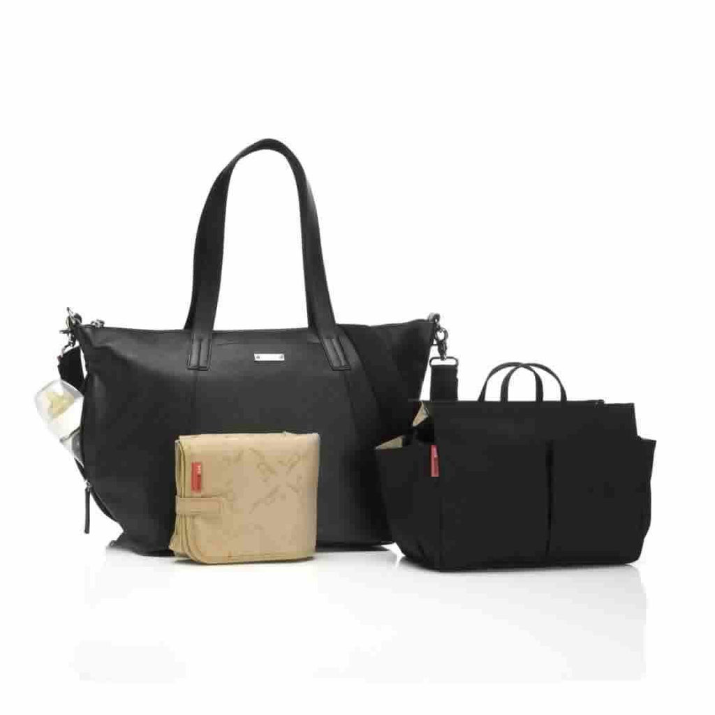 Storksak Changing Bag - Noa Leather - Black-Changing Bags- Natural Baby Shower