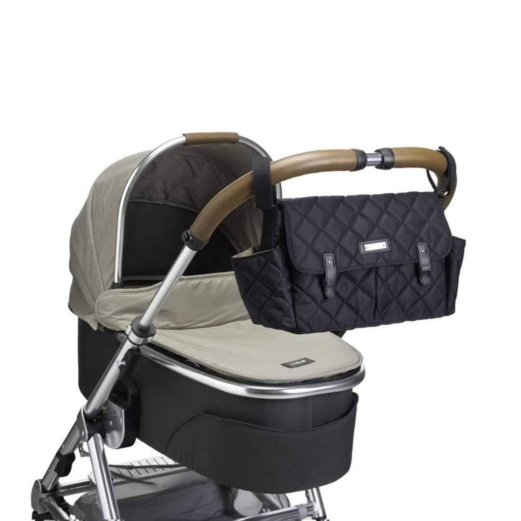 Storksak Stroller Organiser - Quilted Black on pushchair