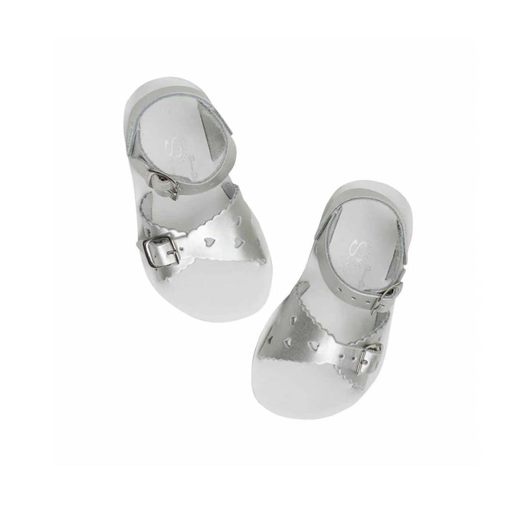 Salt-Water Sun-San Kids Sandals - Sweetheart - Silver-Sandals- Natural Baby Shower