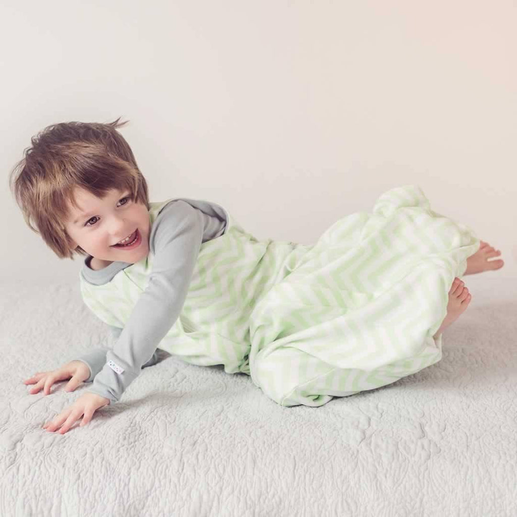 Superlove Organic Cotton & Merino Toddler Sleeping Bag - Mint Chevron Lifestyle