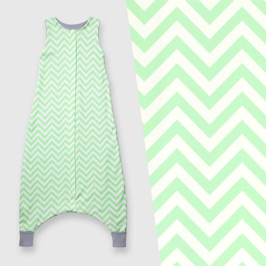 Superlove Organic Cotton & Merino Toddler Sleeping Bag Mint Chevron