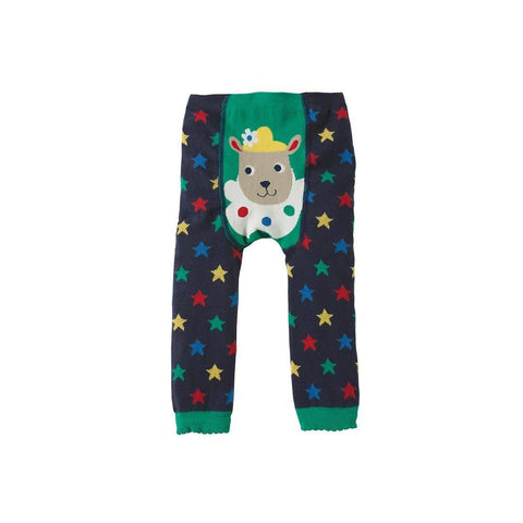 Frugi Little Knitted Leggings - Navy Stars/Sheep