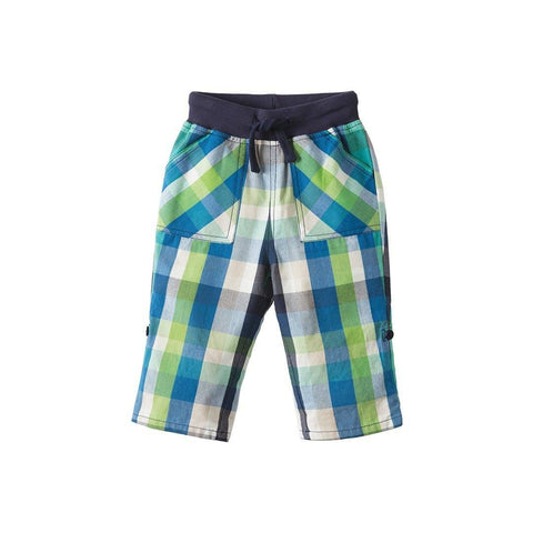 Frugi Check Roll Up Trousers - Jungle Green Check Front