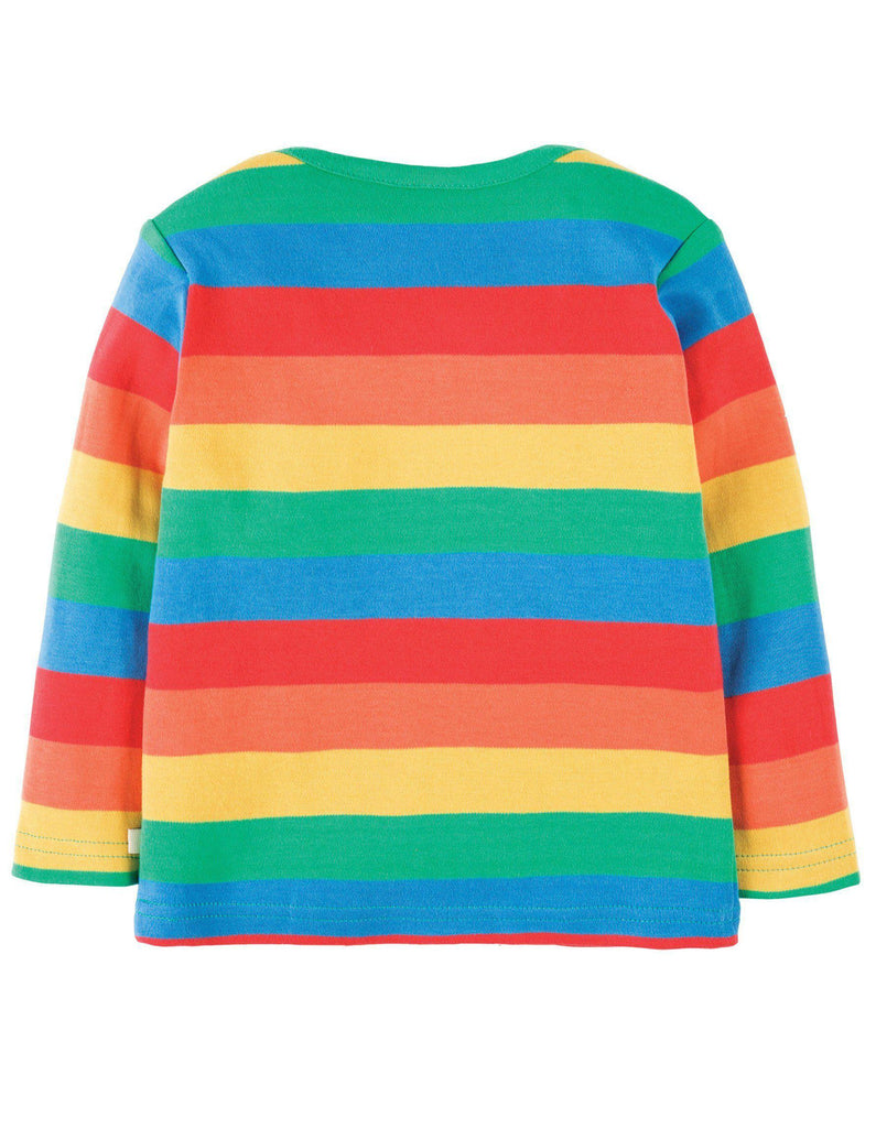 Frugi Bobby Applique Top - Rainbow/Cloud Back