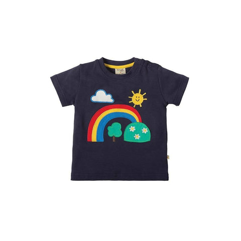 Frugi Little Creature Applique T-shirt - Navy/Rainbow Front