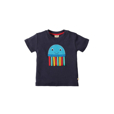 Frugi Little Creature Applique T-shirt - Navy/Jelly
