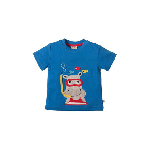 Frugi Little Creature Applique T-shirt - Sail/Hippo