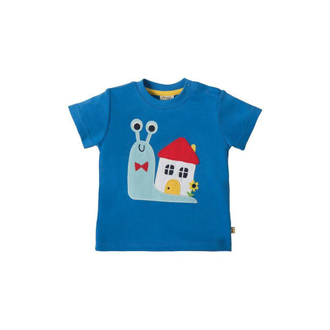 Frugi Little Creature Applique T-shirt - Sail/Snail