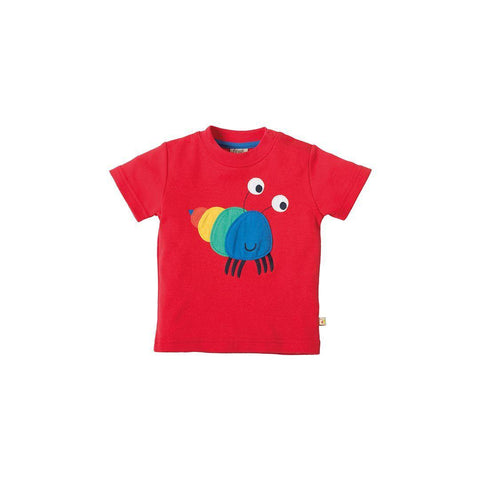 Frugi Little Creature Applique T-shirt - Tomato/Hermit