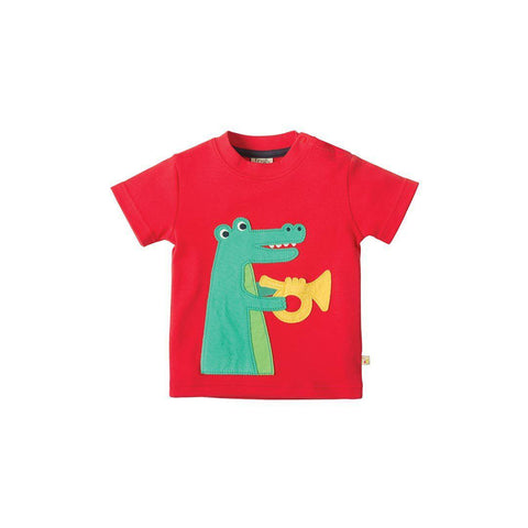 Frugi Little Creature Applique T-shirt - Tomato/Croc Front