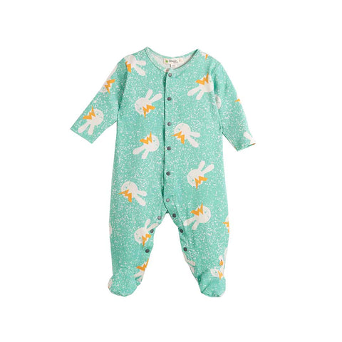 The Bonnie Mob Bailey Playsuit - Aqua Bunny-Rompers- Natural Baby Shower