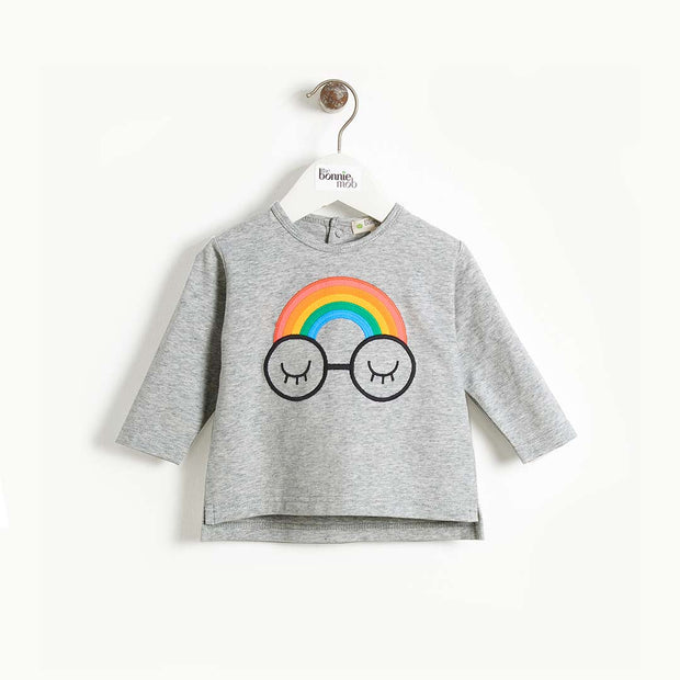 The Bonnie Mob Chance Applique Long Sleeve T-Shirt - Rainbow Eyes-Long Sleeves- Natural Baby Shower