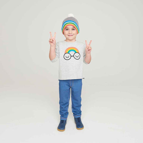 The Bonnie Mob Chance Kids Applique Long Sleeve T-Shirt - Rainbow Eyes-Long Sleeves-2-3y-Rainbow Eyes- Natural Baby Shower