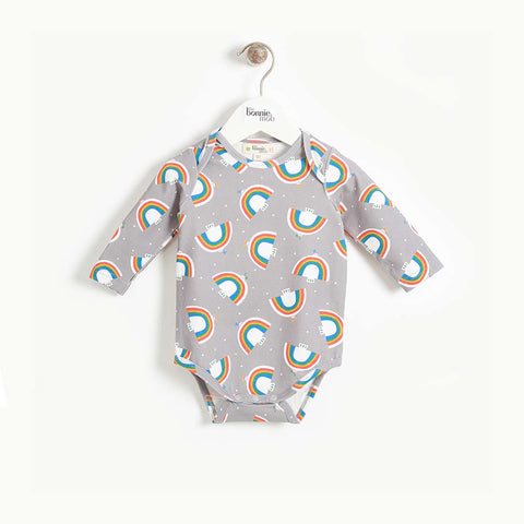 The Bonnie Mob Dearlove Long Sleeve Bodysuit - Grey Dove Print-Bodysuits- Natural Baby Shower