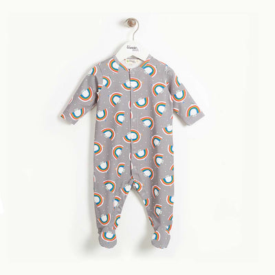 The Bonnie Mob Dreamer Sleepsuit - Grey Dove Print-Rompers- Natural Baby Shower