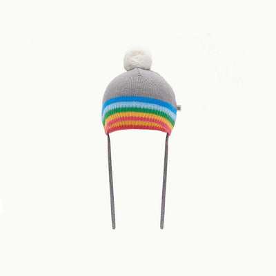 The Bonnie Mob Hey Rainbow Stripe Pom Pom Hat - Grey-Hats- Natural Baby Shower