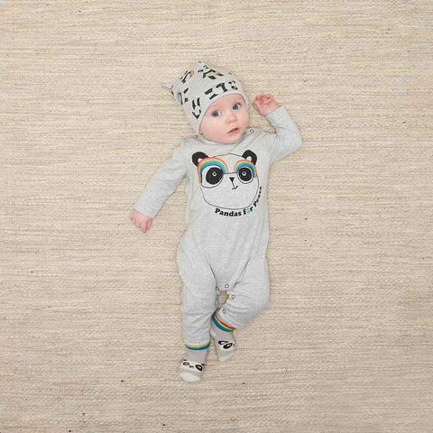 The Bonnie Mob Peaceful Embroidered Playsuit - Grey Placed-Rompers- Natural Baby Shower
