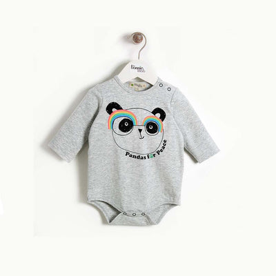 The Bonnie Mob People Long Sleeve Bodysuit - Grey Placed-Bodysuits- Natural Baby Shower