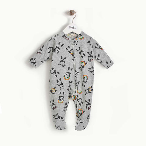 The Bonnie Mob Pepper Zip Front Sleepsuit - Grey-Sleepsuits- Natural Baby Shower