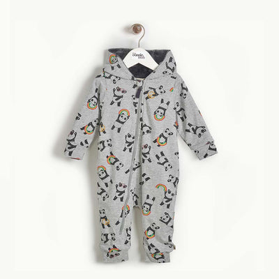 The Bonnie Mob Play Hooded Onesie - Grey-Coats & Snowsuits- Natural Baby Shower