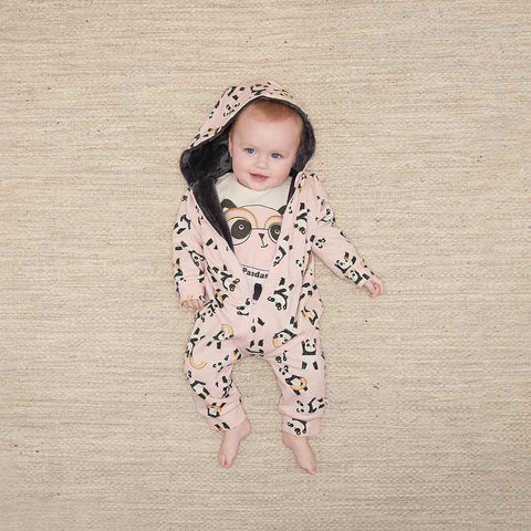 The Bonnie Mob Play Hooded Onesie - Pink-Rompers- Natural Baby Shower