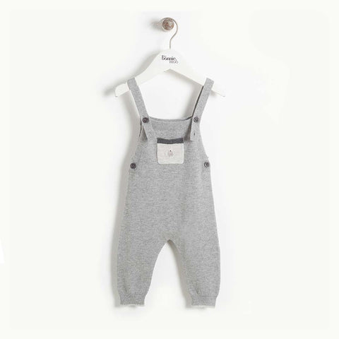 The Bonnie Mob Yell Knit Dungarees - Grey-Dungarees- Natural Baby Shower