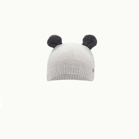 The Bonnie Mob Yoko Knitted Hat with Ears - Pale Grey-Hats- Natural Baby Shower