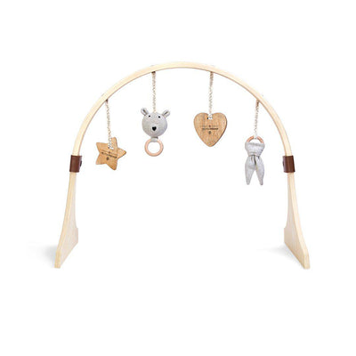 The Little Green Sheep Curved Wooden Play Gym + Charms - Bear Love-Baby Gyms- Natural Baby Shower