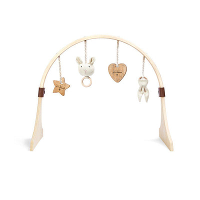 The Little Green Sheep Curved Wooden Play Gym + Charms - Bunny Love-Baby Gyms- Natural Baby Shower