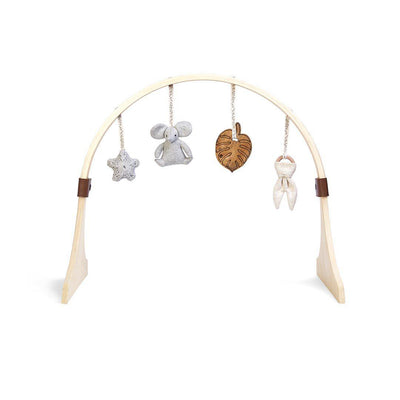The Little Green Sheep Curved Wooden Play Gym + Charms - Elephant-Baby Gyms- Natural Baby Shower