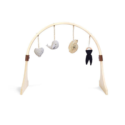 The Little Green Sheep Curved Wooden Play Gym + Charms - Ocean Whale-Baby Gyms- Natural Baby Shower