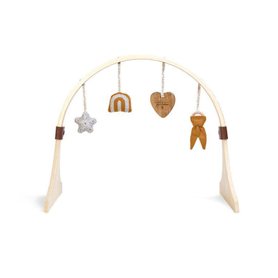 The Little Green Sheep Curved Wooden Play Gym + Charms - Rainbow Honey-Baby Gyms- Natural Baby Shower