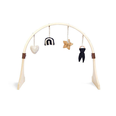 The Little Green Sheep Curved Wooden Play Gym + Charms - Rainbow Midnight-Baby Gyms- Natural Baby Shower