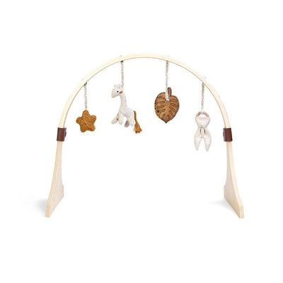 The Little Green Sheep Curved Wooden Play Gym + Charms - Safari Giraffe-Baby Gyms- Natural Baby Shower